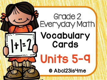 Math Vocabulary Cards- Grade 2- Units 5-9  of EDM4