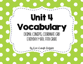 Everyday Math Vocabulary, Unit 4 5th Grade