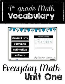 Everyday Math Vocabulary - Unit One