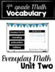 Everyday Math Vocabulary - Unit One through Four