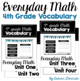 Everyday Math Vocabulary - Unit One through Four