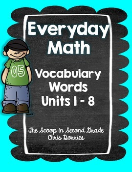 Everyday Math Vocabulary Words 2nd Grade - All Units
