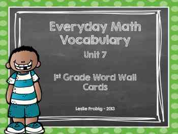 Everyday Math Word Wall Words  Unit 7 Vocabulary