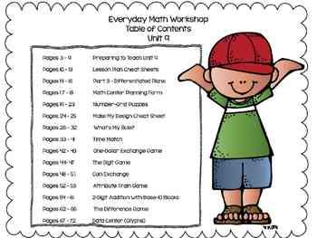 1st Grade Everyday Math Workshop Plans for Unit 9