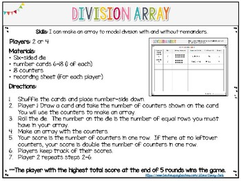 Everyday Math grade 3 Division Array Center Division with and without Remainders