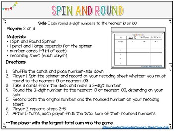 Everyday Math unit 1 Spin and Round to the nearest 10 and 100 math game center