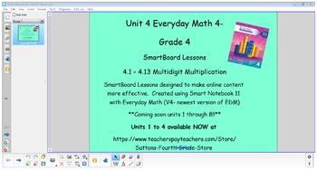 Everyday Math (version 4) Grade 4 Smartboard- Unit 4 Multidigit Multiplication