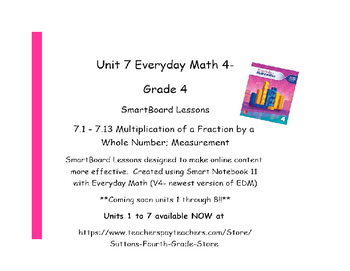 Everyday Math (version 4) Grade 4 Smartboard- Unit 7 Multi. of a Fraction