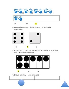 Everyday Math4 Kindergarten Unit 5 Lesson 1-6 Assessment in Spanish