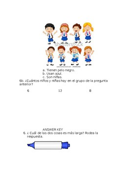 Everyday Math4 Kindergarten Unit 6 Lesson 1-6 Assessment in Spanish