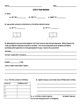 Everyday Mathematics Common Core 4th grade unit 4 test review