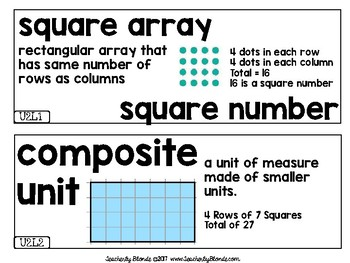Everyday Mathematics EDM4 Unit 2 Vocab Cards