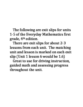 Everyday Mathematics Exit Slips (premade) FIrst Grade