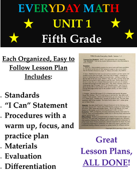 Everyday Mathematics Fifth Grade Unit 1 Math Lesson Plans and Centers List