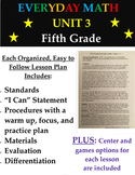 Everyday Mathematics Fifth Grade Unit 3 Math Lesson Plans + 5th Centers n Games