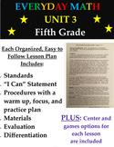 Everyday Mathematics Fifth Grade Unit 3 Math Lesson Plans