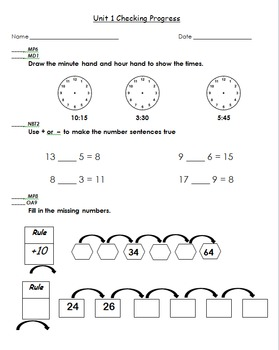 Everyday Math Grade 3 Units 1-11 Tests (Checking Progress)