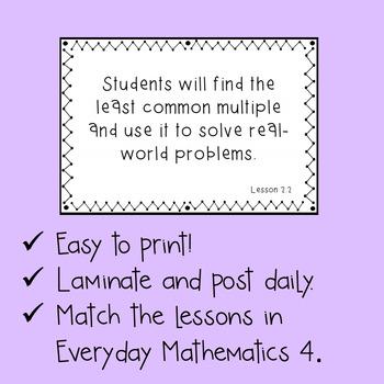 Everyday Mathematics Grade 6 Objective Cards