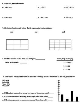 Everyday Mathematics Unit 6 Review for 5th grade