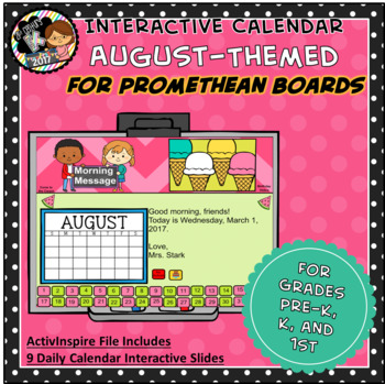 Everyday PROMETHEAN Calendar - August - Pre-K, K, 1st Grades