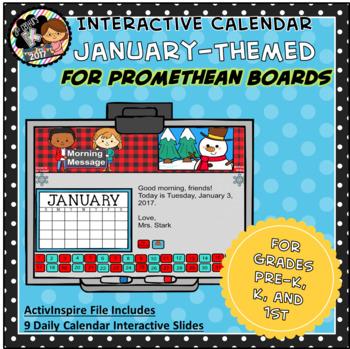 Everyday PROMETHEAN Calendar - January - Pre-K, K, 1st Grades
