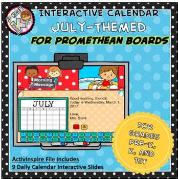 Everyday PROMETHEAN Calendar - July - Pre-K, K, 1st Grades