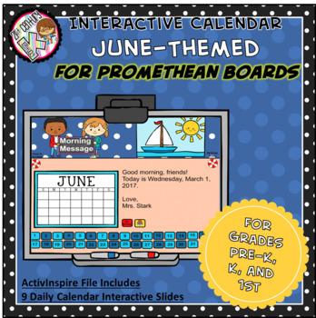Everyday PROMETHEAN Calendar - June - Pre-K, K, 1st Grades