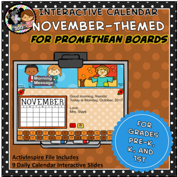 Everyday PROMETHEAN Calendar - November - Pre-K, K, 1st Grades