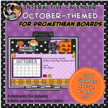 Everyday PROMETHEAN Calendar - October - Pre-K, K, 1st Grades