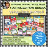 Everyday PROMETHEAN Interactive Calendar Yearlong Bundle for Pre K, K, 1st