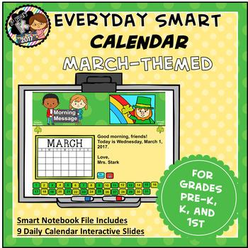 Everyday SMART Calendar - March - Pre-K, K, 1st Grades