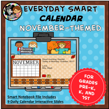 Everyday SMART Calendar - November - Pre-K, K, 1st Grades