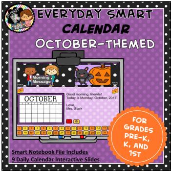 Everyday SMART Calendar - October - Pre-K, K, 1st Grades