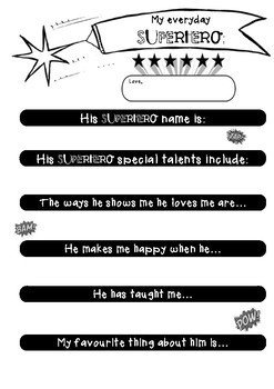 Cute Printable - 'Everyday Superhero!' - Father's Day Craft
