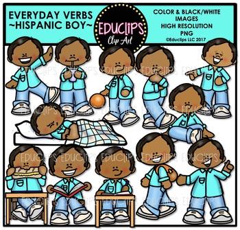 Everyday Verb Hispanic Boy Clip Art Bundle {Educlips Clipart}