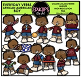 Everyday Verbs African American Boy Clip Art Bundle {Educlips Clipart}