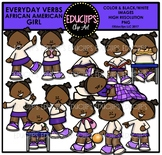 Everyday Verbs African American Girls Clip Art Bundle {Educlips Clipart}