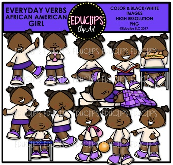Everyday Verbs African American Girls Clip Art Bundle {Educlips Clipart}
