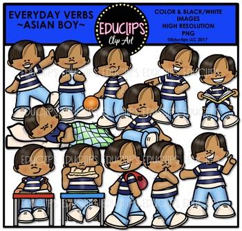 Everyday Verbs Asian Boy Clip Art Bundle {Educlips Clipart}
