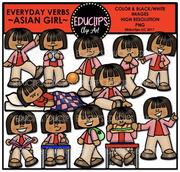 Everyday Verbs Asian Girl Clip Art Bundle {Educlips Clipart}