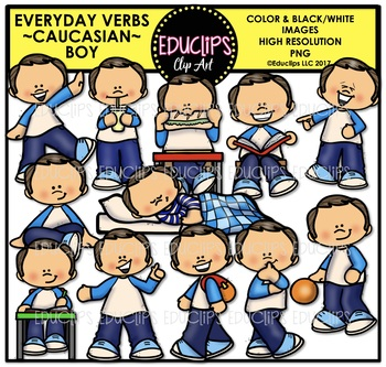 Everyday Verbs Caucasian Boy Clip Art Bundle {Educlips Clipart}