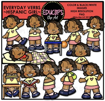 Everyday Verbs Hispanic Girl {Educlips Clipart}