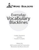 Everyday Vocabulary Blacklines