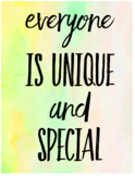 """Everyone Is Unique And Special Classroom Poster 11x8.5"""""""