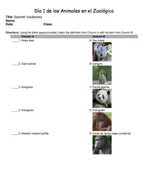 Everyone Learns Spanish Vocabulary: Animals at the Zoo