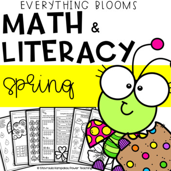 "Literacy & Math Packet ""Everything Blooms"" for Kindergarten"