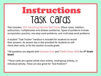 Everything Decimals Task Cards