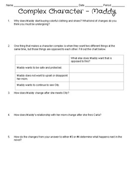 Everything Everything By Nicola Yoon Complex Character Worksheets