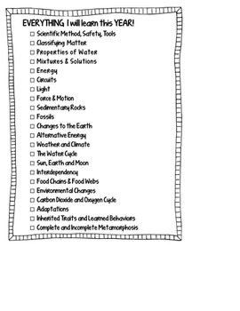 FREE!  Everything I will LEARN this Year LIST for ISN FREEBIE!