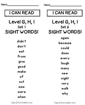 Sight Word Speed Drills {Jan Richardson Levels A-I}